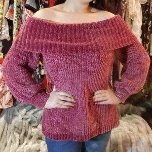 Fuschia Purple Pink Velvet Chenille Soft Sweater